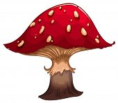 Illustration of a giant red mushroom on a white background