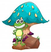 Illustration of a frog standing above the rock below the giant mushroom on a white background