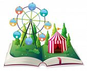 Illustration of a storybook with a carnival on a white background