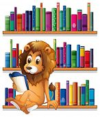 Illustration of a lion reading a book while sitting on a bookshelf on a white background