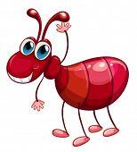 Ilustraciones de una hormiga sonriente ondeando sobre un fondo blanco