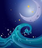 Illustration of an image of the sea waves with a moon