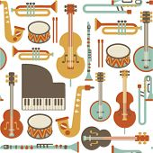 stock photo of clarinet  - seamless pattern with jazz instruments - JPG