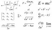 Mathematics and physics vector formulas. Layered. Editable