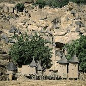 stock photo of dogon  - View over Dogon village Yaye Mali - JPG