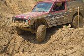 American Car In Muddy Terrain