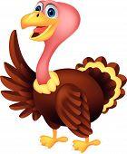 Turkey cartoon waving