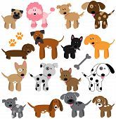 stock photo of fluffy puppy  - Vector Collection of Cute Cartoon Dogs with Bone - JPG