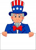 Uncle sam cartoon with blank sign