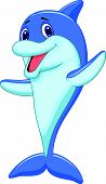 Cute dolphin cartoon waving