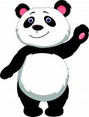 Cute panda cartoon waving