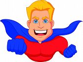 Superhero cartoon flying