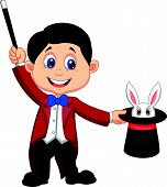 stock photo of warlock  - Magician cartoon pulling out a rabbit from his top hat - JPG