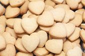 Many Delicious Heart Shaped Cookies