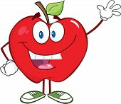 Smiling Apple Cartoon Mascot Character Waving For Greeting