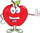 Smiling Apple Cartoon Mascot Character Holding A Thumb Up