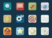 Redondeada planos iconos para aplicaciones Web y móviles