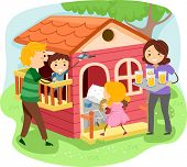 Illustration of Stickman Family Having a Pastime in a Playhouse