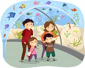 Illustration of Stickman Family Visiting an Oceanarium