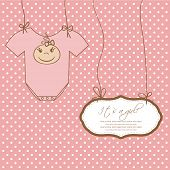 image of bow-legged  - Baby girl arrival announcement card - JPG