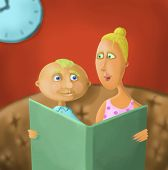 Mum reads the book to his son