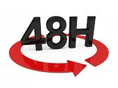 3d image of 48h on white background