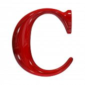 3d shiny red plastic ceramic uppercase letter - C