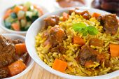 Arabic rice, Ramadan food in middle east usually served with tandoor lamb. Middle eastern food.