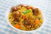 Arab food. Mutton With Rice. Middle eastern cuisine.