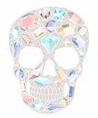 Crânio com padrão de pedras preciosas