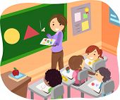 Illustration of Stickman Kids Learning Shapes in a Classroom