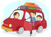 stock photo of stickman  - Illustration of Stickman Family Traveling in a Car - JPG