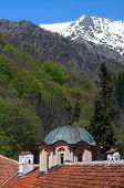 Dome Of Rila Monastery And Snowy Mountain