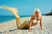 stock photo of fish skin  - Cute attractive blonde mermaid near the sea - JPG