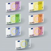 vector euro paper bill banknotes with shadows