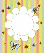 Illustration of a flowery designed empty template with bees