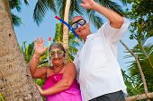 image of mature adult  - Happy mature couple smiling and waving in the shade of palm trees on the beach - JPG