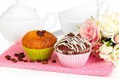 Sweet cupcakes close up