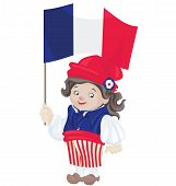 Cute Smiling Cartoon Young Man In Sans Culottes Costume