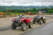 ZAKOPANE, POLAND - JUNE 26: Quads waiting for tourists in Male Ciche near Zakopane on 26 June 2013. Male ciche is a village in Tatra Mountains and popular tourists destination for summer holidays.