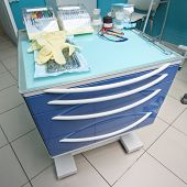 Medical movable bedside-table with drawer