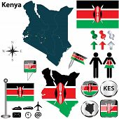 picture of shilling  - Vector of Kenya set with detailed country shape with region borders flags and icons - JPG