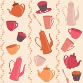 Seamless stripy pattern with tea and coffee items