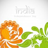 Indian independence background with floral decorations in tricolors on abstract grey background.
