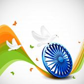 Creative Indian Independence Day concept with tricolors wave, ashoka wheel and flying pigeons and butterflies.