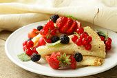 stock photo of crepes  - thin dessert pancakes  - JPG