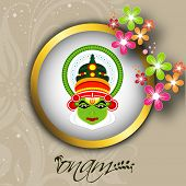 South Indian festival Onam wishes background with Kathakali dancer.