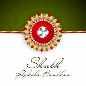 Indian festival background with beautiful rakhi and text Subh Raksha Bandhan (Happy Raksha Bandhan).