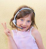 Girl, Kid, Headset.