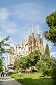 View Of The Sagrada Familia Cathedral, Designed By Antoni Gaudi, In Barcelona, Spain